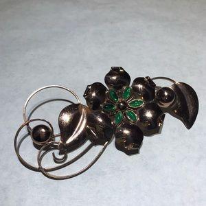 Vintage Truart Sterling Green Flower Brooch Pin
